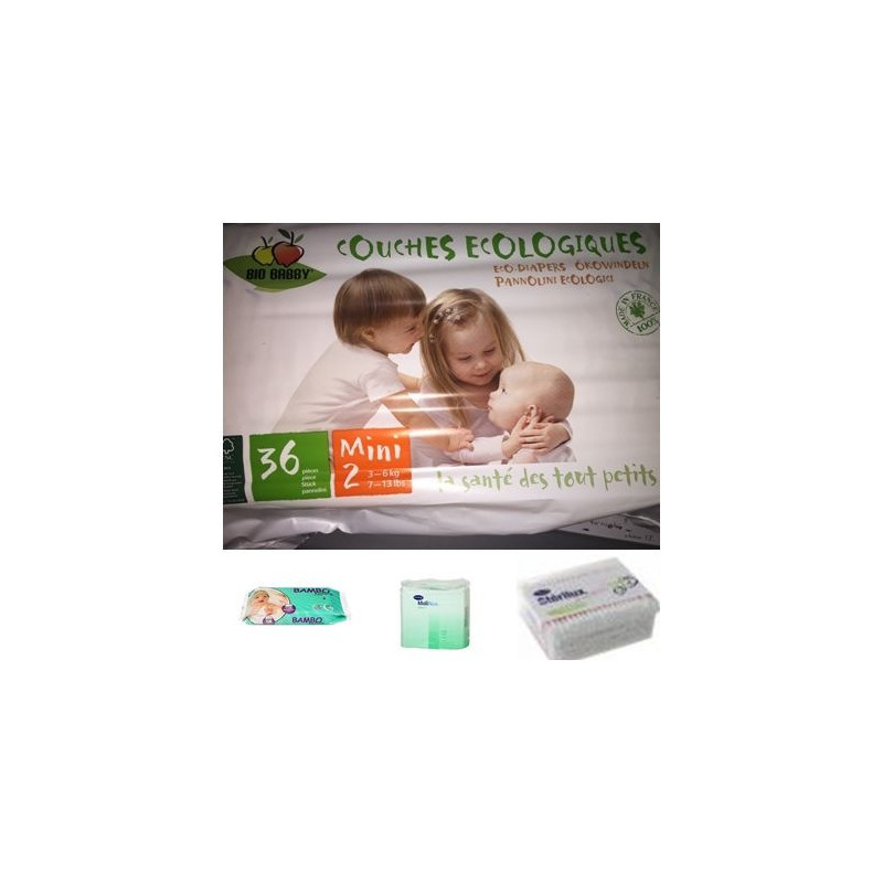 Pack couches bébé écologique 3/6 kg